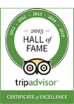 2015 Hall of Fame tripadvisor logo certificate of excellence