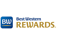 Best Western logo with yellow writing in Rewards worth celebratings