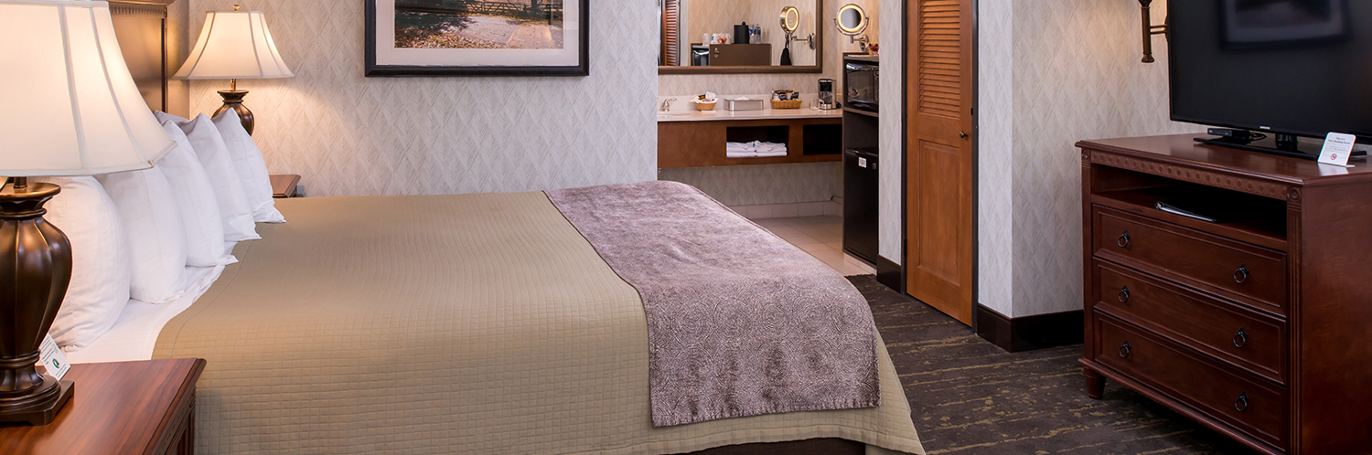 attractive furnished rooms and suites feature Simmons mattresses